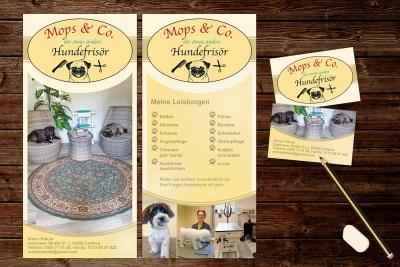 Flyer und Visitenkarten mit geliefertem Logo,  Hundefrisör in Cottbus